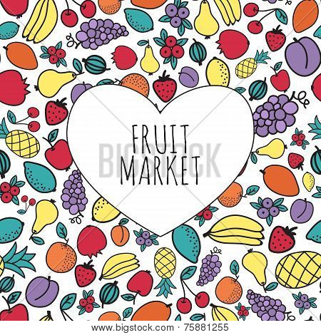 Hand-drawn fruit market concept. Heart shape with organic fruits icons.
