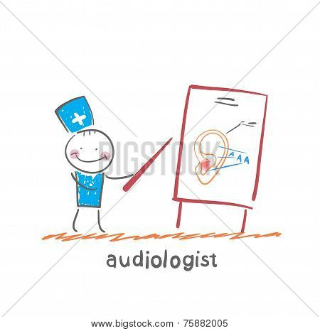 otolaryngologist shows a presentation about the ear