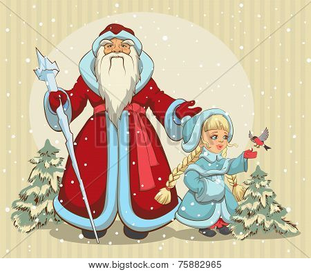 Russian Santa Claus. Grandfather Frost and Snow Maiden. Christmas card