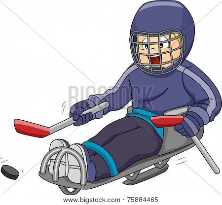 Illustration Featuring a Sledge Hockey Player Moving the Puck Across the Ice