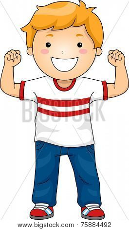 Illustration Featuring a Boy Flexing His Muscles to Demonstrate His Strength