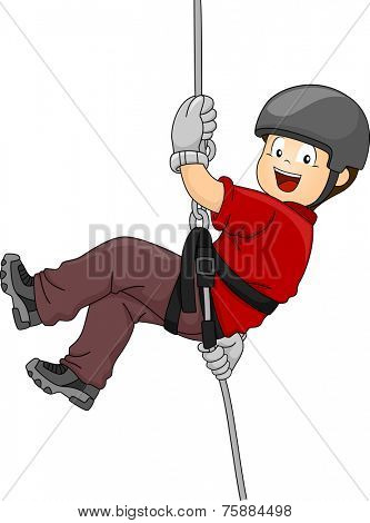 Illustration Featuring a Boy Rappelling Down a Wall