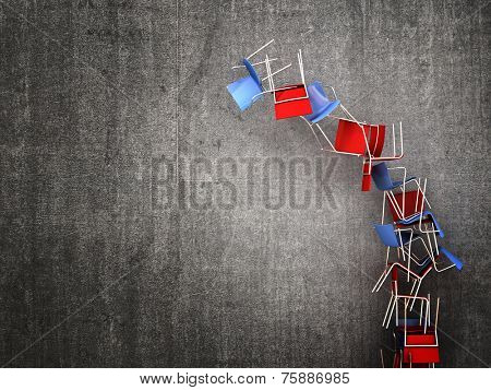 3d image of falling chair