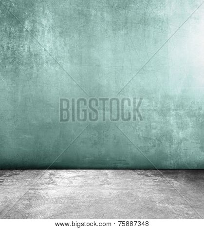 Abstract grunge background with green wall and grey concrete floor texture
