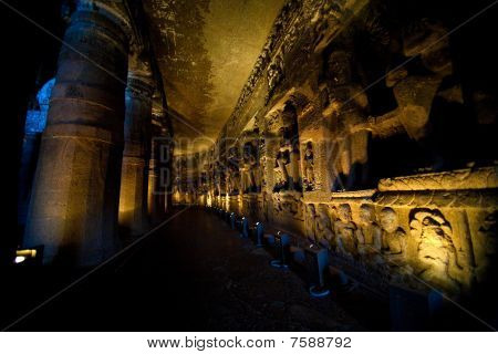 Interior Of An Ancient Cave Temple