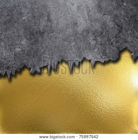 Gold metal background with grunge concrete