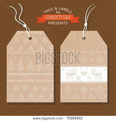 Christmas Tags or Labels- Scandinavian Style - in vector