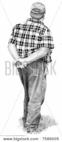 Pencil Drawing of Farmer Standing