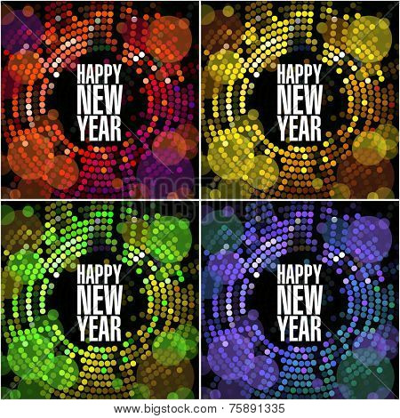 New year and Christmas light garland vector card template.