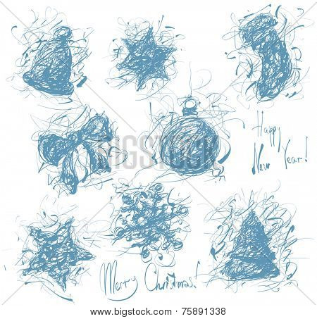 Christmas decoration hand drawn element collection