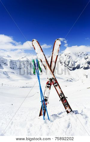 Skiing , mountains and ski equipments - ski vacation