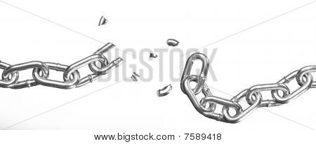 Broken Chain On White Background
