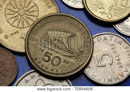 Coins of Greece. Ancient Greek sailing ship depicted in the old Greek 50 drachma coin.