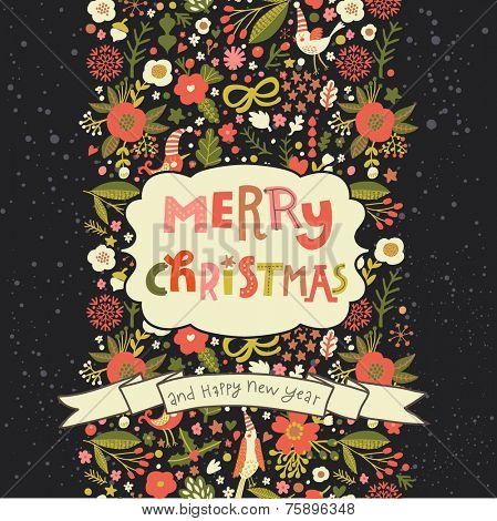 Bright Merry Christmas card in vector. Floral seamless pattern made of stylish flowers and birds with holiday textbox