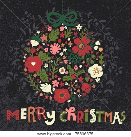 Merry Christmas floral card in bright colors. Beautiful holiday background in vector
