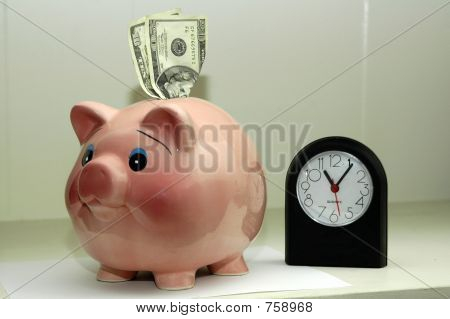 piggy bank and clock