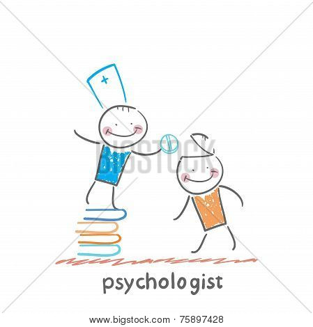 psychologist is on a stack of books and gives the patient a tablet