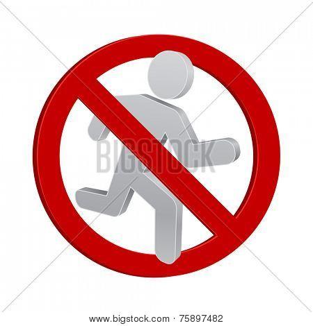 running man forbidden sign 3d icon