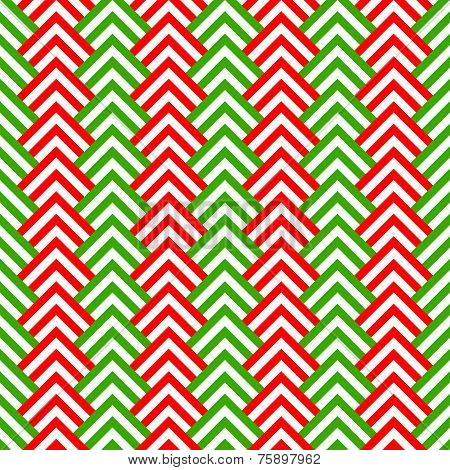 Red green and white chevron geometric seamless pattern, vector