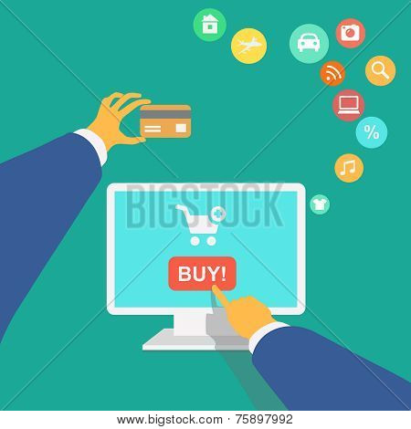 vector illustration poster concept with icons of buying product online shopping and e-commerce