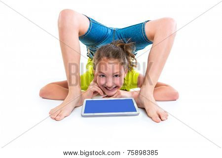 Flexible contortionist kid girl thinking gesture with tablet pc on white background