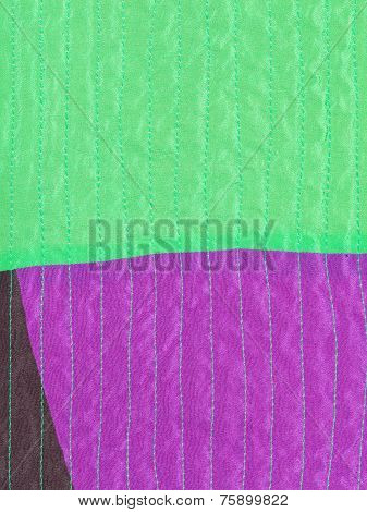 Patchwork Textile Background From Stitched Silk