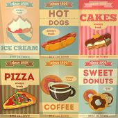 stock photo of donut  - Food Posters set - JPG