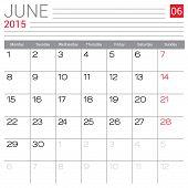 Постер, плакат: June 2015 Calendar