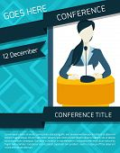 pic of public speaking  - Public speaking person politician business speaker with paper and microphone conference announcement template vector illustration - JPG