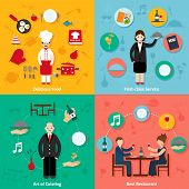 stock photo of first class  - Restaurant flat set with isolated with delicious food first - JPG