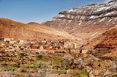 pic of atlas  - The small mountain village of Aguelmous in the High Atlas in winter season  - JPG