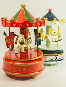 stock photo of merry-go-round  - sky blue and red merry - JPG