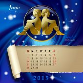 stock photo of gemini  - Simple monthly page of 2015 Calendar with gold zodiacal sign against the blue star space background - JPG