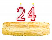 pic of 24th  - birthday cake with candles number twenty four isolated on white background - JPG