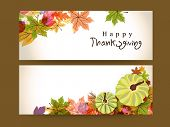 stock photo of thanksgiving  - Happy Thanksgiving website header or banner with maple leaves and pumpkin - JPG