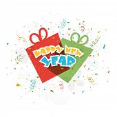 picture of text-box  - Stylish text Happy New Year with gift boxes on ribbon decorated white background - JPG