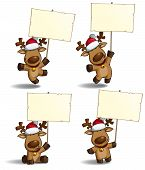stock photo of christmas theme  - Set of a cartoon illustrations Christmas elk holding a placard in 4 poses - JPG