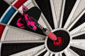picture of bullseye  - Dart in bullseye with room on the tail for your copy - JPG
