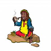 image of rastaman  - Cartoon style vector illustration of bearded man with pipe - JPG