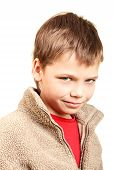 image of cunning  - Portrait of a cunning boy on a white background - JPG