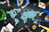 stock photo of communication  - Group of People Blackboard Global Communications Concept - JPG