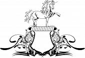 picture of unicorn  - heraldic unicorn coat of arms crest in vector format very easy to edit - JPG
