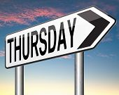 pic of thursday  - thursday week next or following day schedule concept for appointment or event in agenda  - JPG