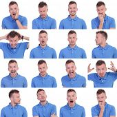 stock photo of shock awe  - set of sixteen pictures of a young casual man showing various expressions - JPG
