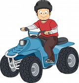 picture of recreational vehicle  - Illustration Featuring a Boy Riding an All Terrain Vehicle - JPG