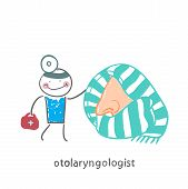 foto of otoscope  - otolaryngologist came to treat the patient - JPG