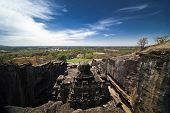 foto of ellora  - Top view of ancient cave temple in Ellora India - JPG