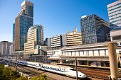 foto of high-speed train  - Railway with skyline shinkansen at Odaiba  - JPG