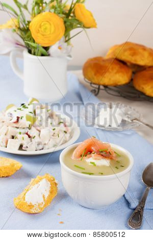 Bowl of creamy leek soup with smoked salmon