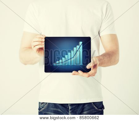 picture of man hands holding tablet pc with graph